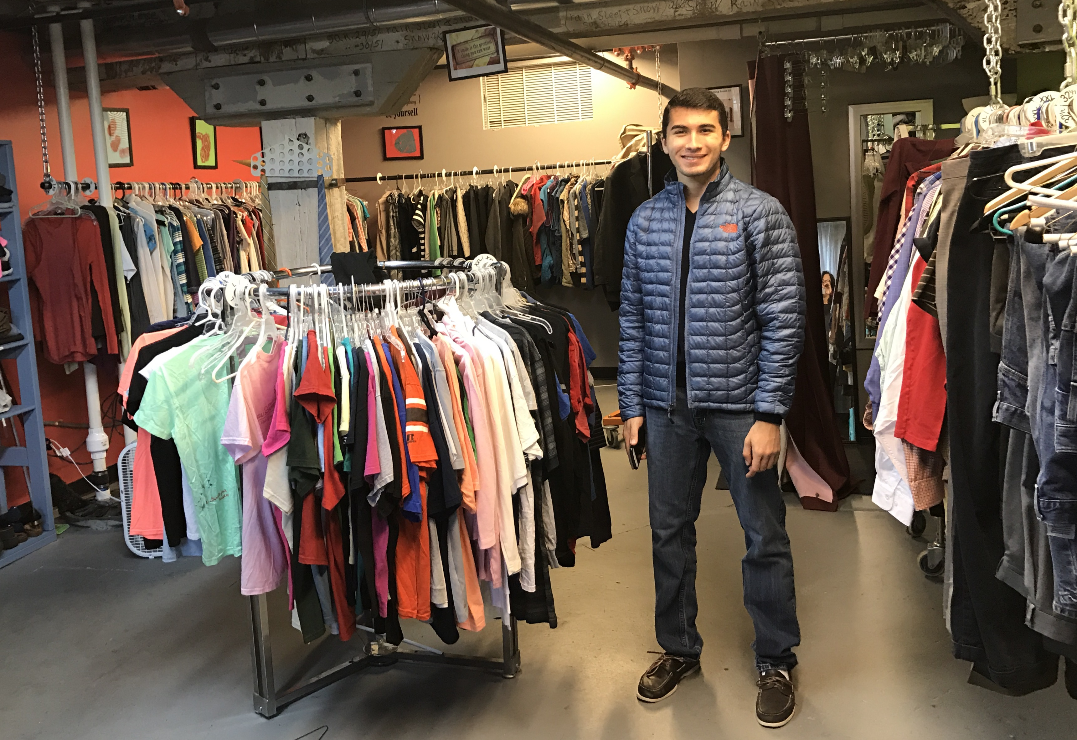 Zach at The Oasis Center's Teen Closet